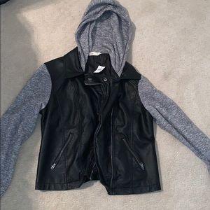 Hollister leather jacket/sweater